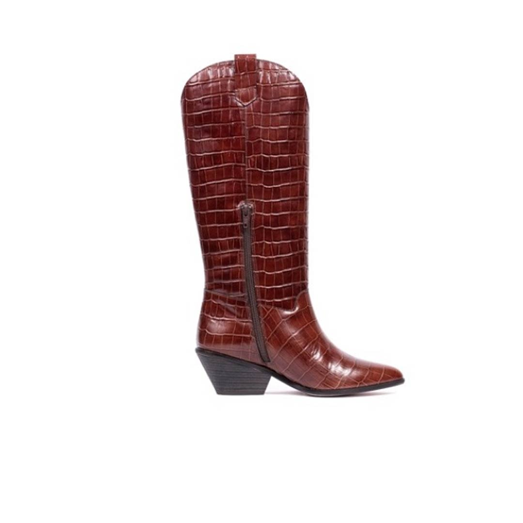 SELMA BOOT IN BROWN LEATHER WITH CROC EFFECT 5CM