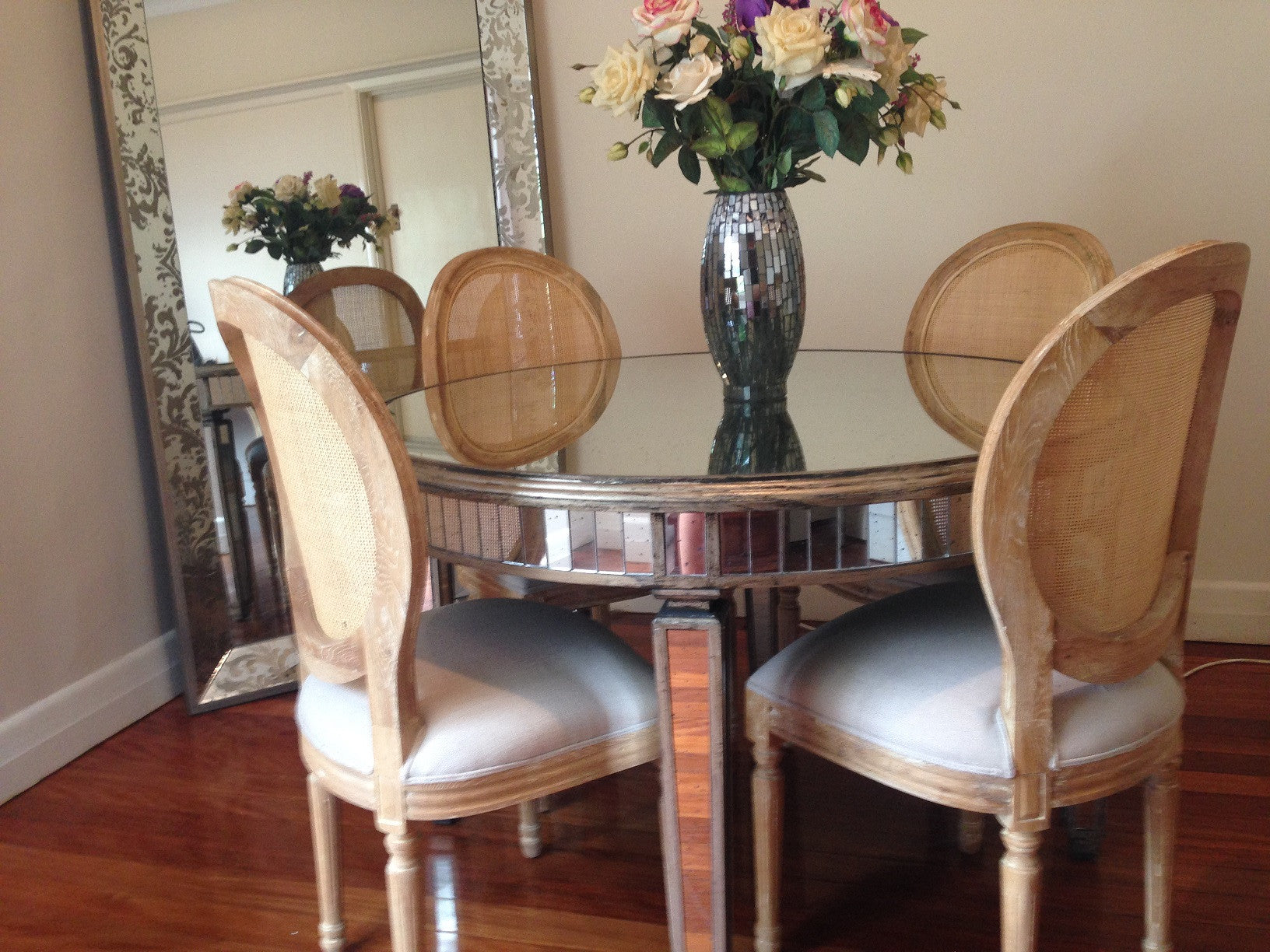 round mirrored dining table wisteria homeware and living mir