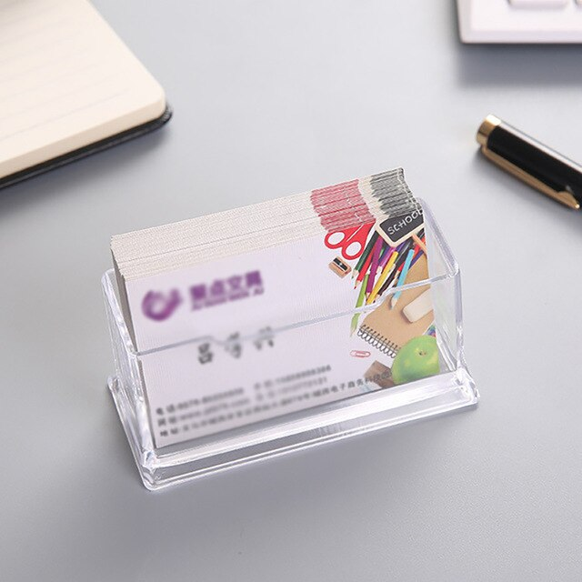 Transparent Business Card Holder Stand Acrylic Name Card Display Holders With Pen Slot Office Business Card Shelf Storage Boxes