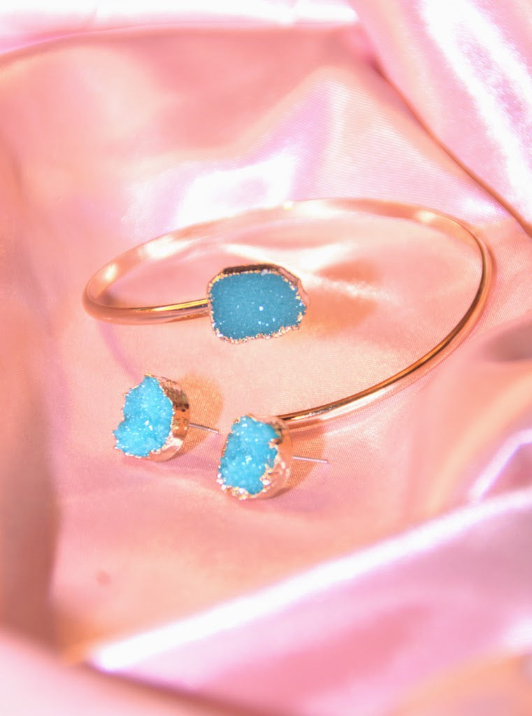Topaz Quartz Earrings and Bracelet set
