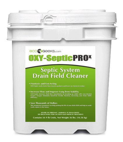 ecoGeeks OXY-Septic is the only available septic drain-field treatment solution that can potentially restore a clogged drain field to working order.  In addition to stimulating and activating the beneficial bacteria that exists in all septic systems, the churning action of pure oxygen being released  increases fluid flow immediately by breaking up solids that have clogged out flow holes in your septic system drain field plumbing.
