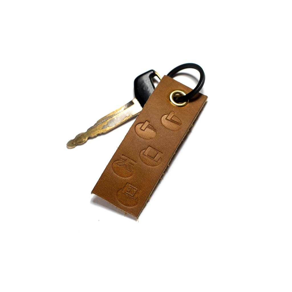 Leather Key Tag Dark Almond