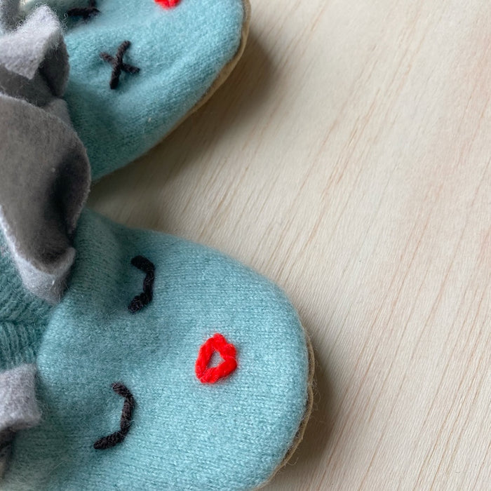 Cashmere Bunny Booties - Duck Egg