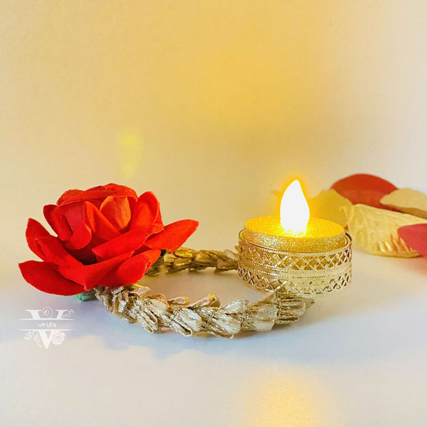 Decorative Tea Light Candle Holder I Floral Diwali Decor I Wedding Decor I Table Top Decor I Vruts
