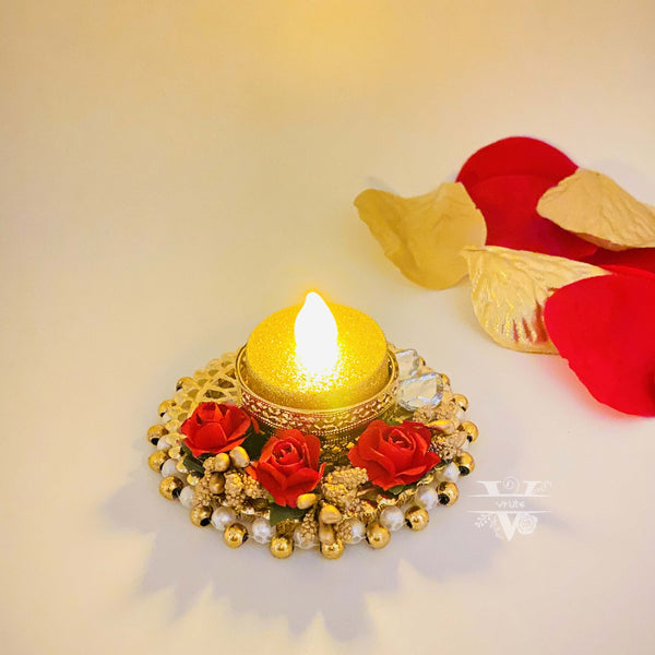 T-light Handcrafted pearl metal floral candle holder I Diwali decoration I Wedding Decor I Home Decor