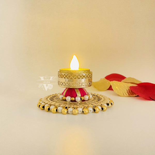 Handcrafted Tea Light Candle Holder With Raised Platform