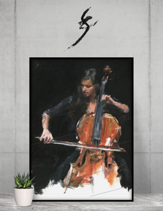 """Virtuoso"" Alla prima painting of a cellist. Framed poster"