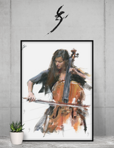 """Virtuosity"" Framed poster. Cello art."