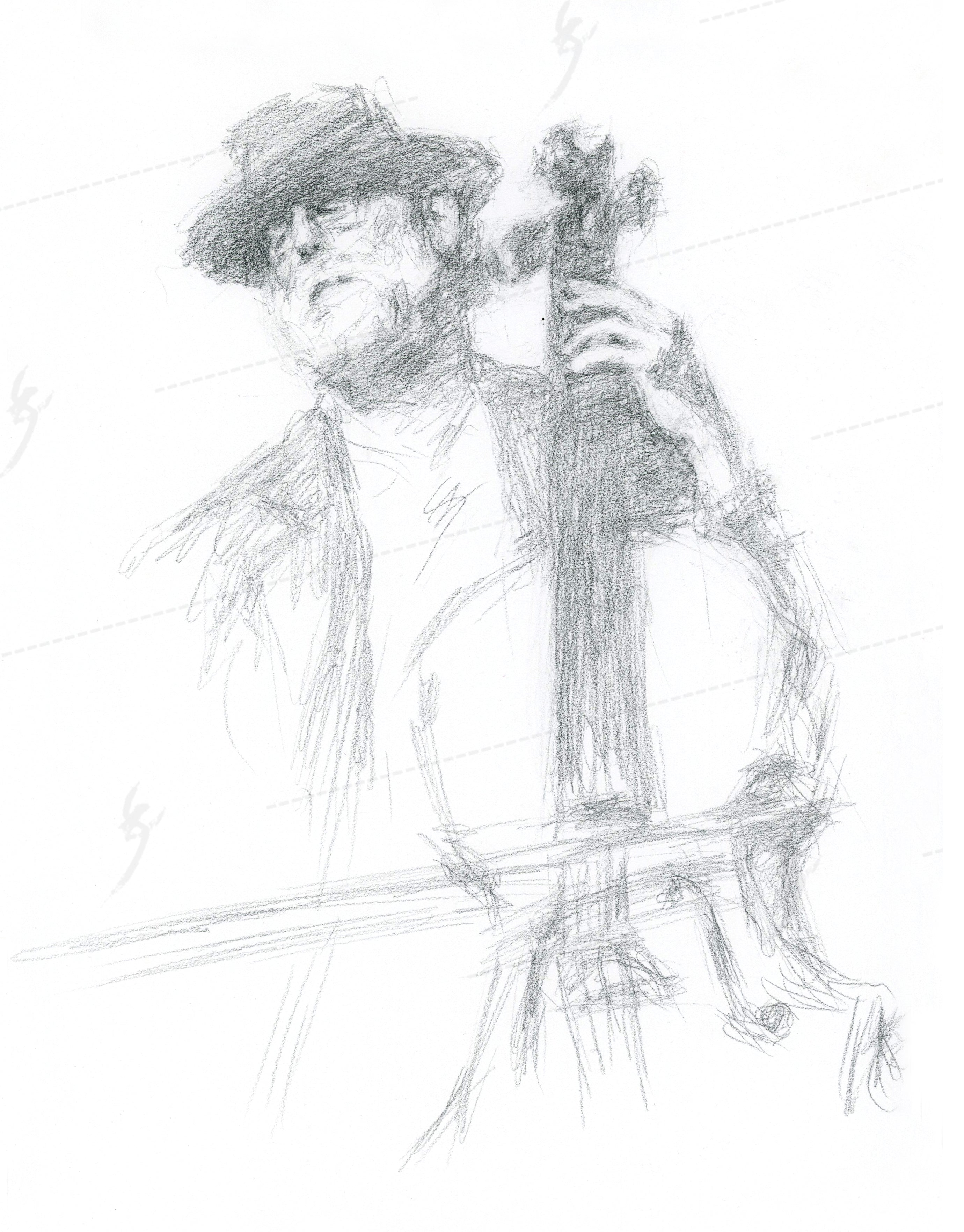 """Snazzy Cellist"" Bubble-free sticker of pencil drawing"