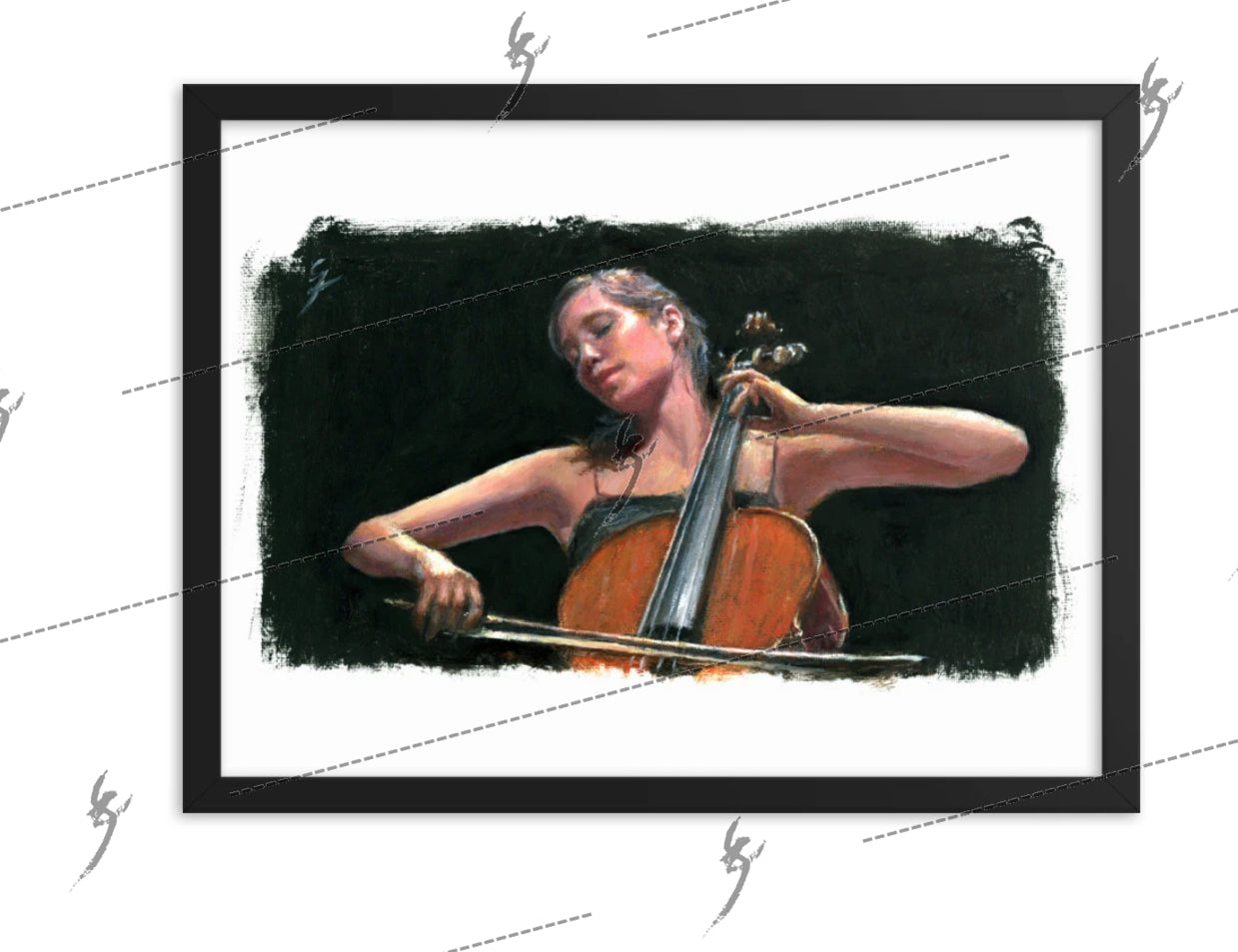 """Soliste"" painting of a cello player. Framed print"