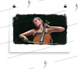 """Soliste"" Painting of a cello player. Print"