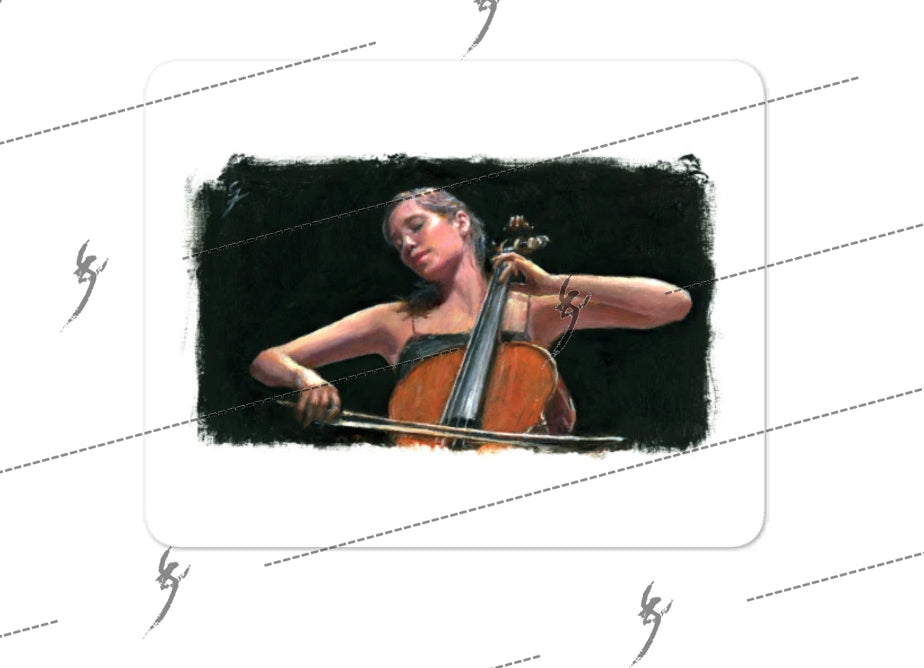 """Soliste"" painting of a cello player. Bubble-free stickers"