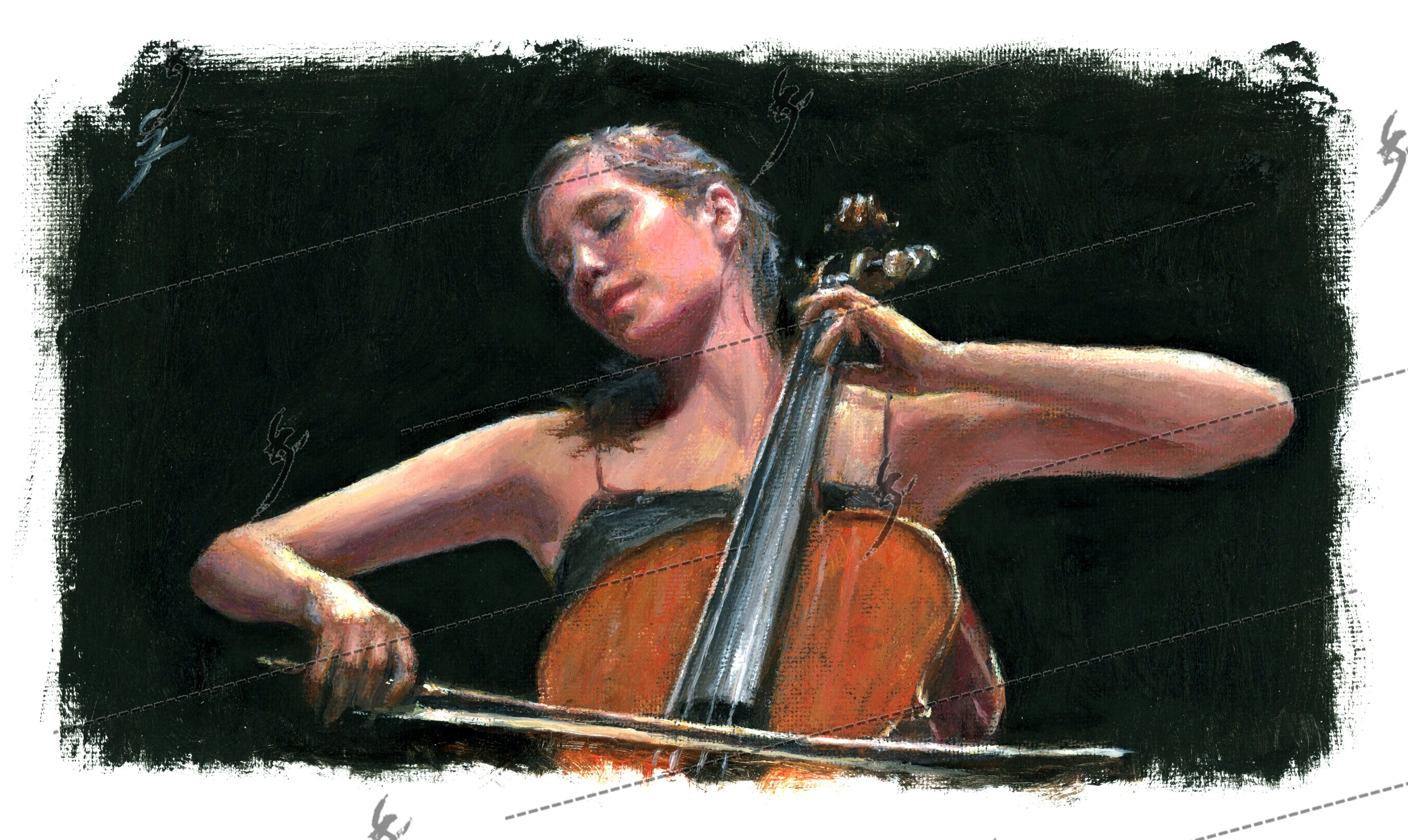 """Soliste"" painting of a cello player, Canvas"