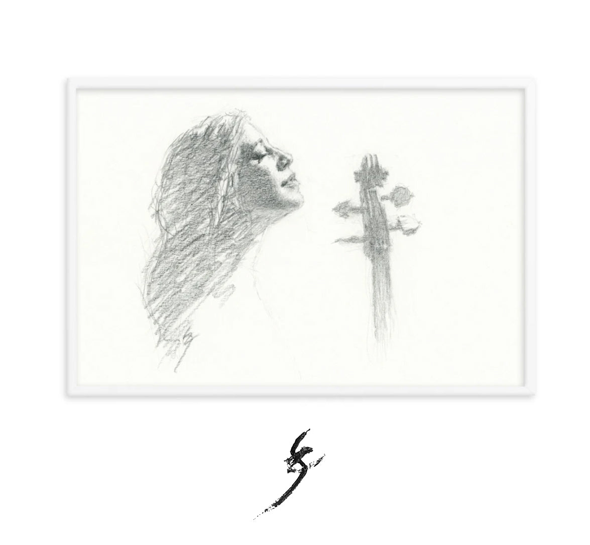 """Woman and Her Cello 2""-pencil drawing-Framed print"