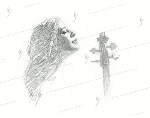 Woman and Her Cello 2, pencil drawing-Fine Print