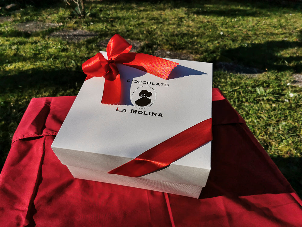 "White La Molina Gift Box with Red Ribbon (25.5cm/10"" x 25.5cm/10"" x 12.5cm/5"")"