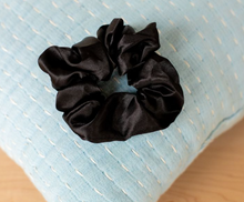 Load image into Gallery viewer, Kelsey Satin Black Scrunchie