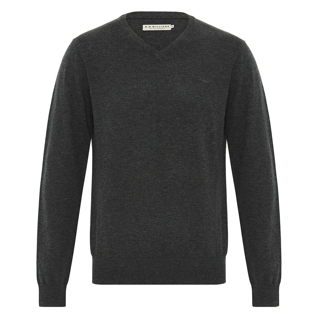 RM Williams Harris V Neck Wool Jumper available at My Harley and Rose