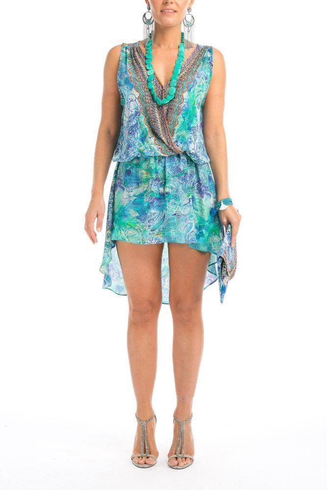 Inoa Dress Cross Front Mini Amalfi Azure, from Harley & Rose