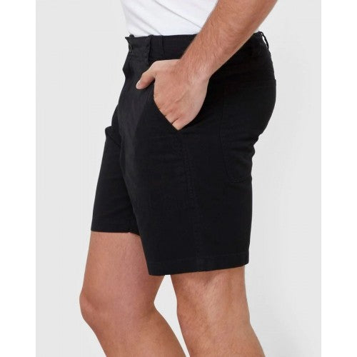 SHORT OLIVER WORK  These casual mens shorts are an easy to style classic. Cut from a mid-weight cotton twill, they are durable without being constrictive. The waistband has an internal draw cord to help achieve a perfect fit. Details include workwear inspired pockets and tonal embroidering on back waistband. Finished with a heavy wash for a softer feel. Keep it casual with a tee or add our Mary Grace Resort Shirt for a chilled but put-together look, Available at My Harley and Rose