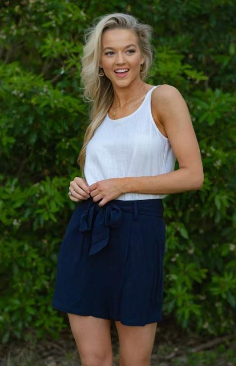Iris Maxi Navy Tie Shorts, from Harley & Rose