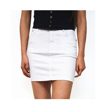 Load image into Gallery viewer, Wakee Denim Mini White Skirt, from Harley & Rose