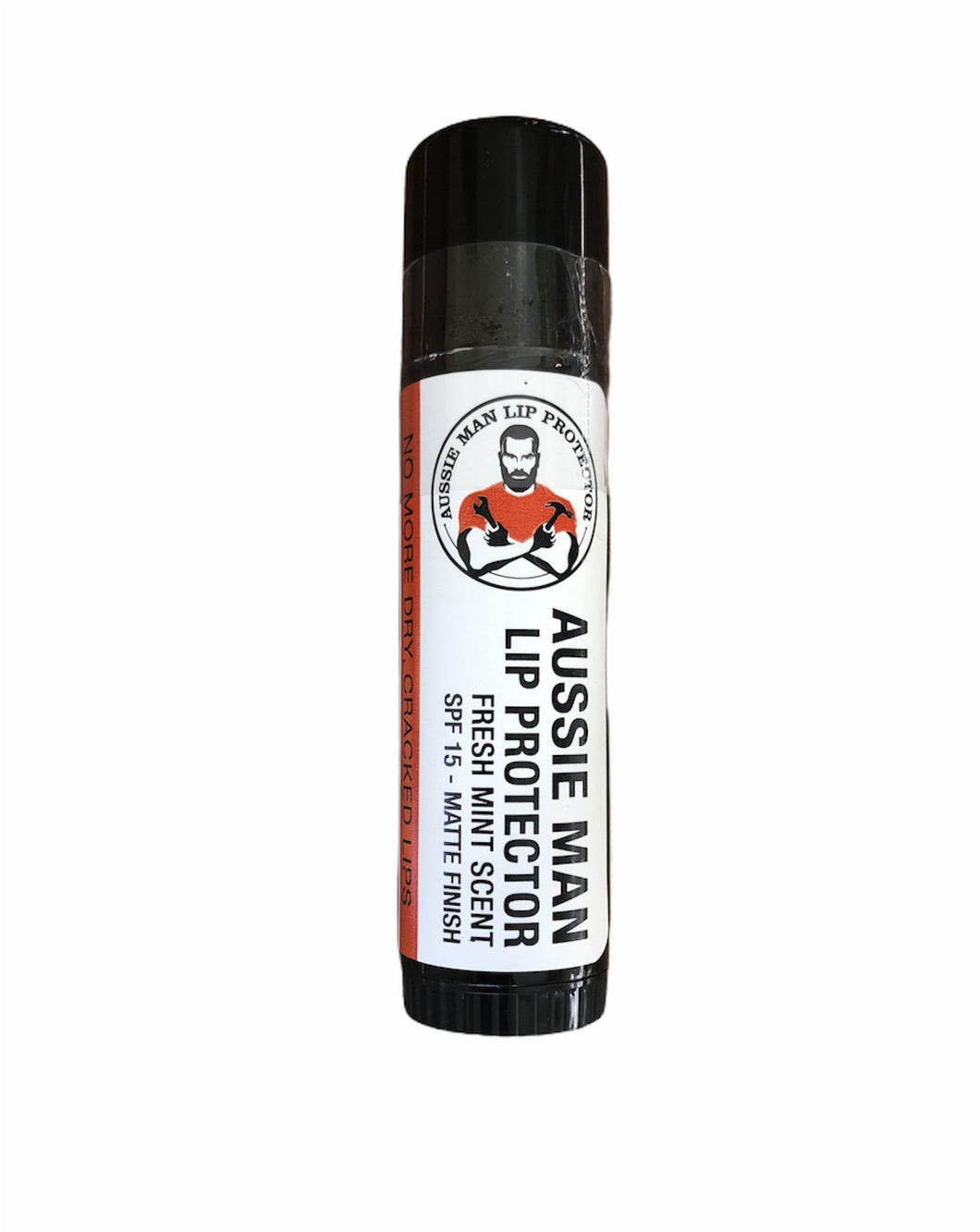 Aussie Man Lip Protector Has this ever happened to you? You're on the tools in the bloody hot sun, lips chapped amongst your manly AF beard.This is the lip protector for men. Our lip protector will relieve you from dry and cracked lips, PLUS it's a matte finish with sunscreen SPF 15. To sort out your dry and cracked lips, you need the good stuff. Shea Butter, Hemp Seed Oil, Beeswax. The best part – our lip protector is 15g of Aussie made, manly lip protecting goodness. Available at My Harley and Rose.