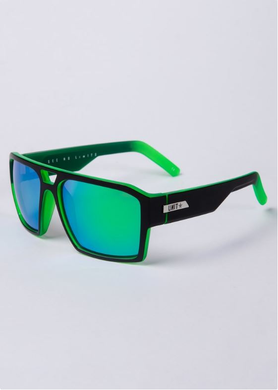 Unit Vault Matte Black Dip Green Polarised Sunglasses by Unit available at My Harley and Rose
