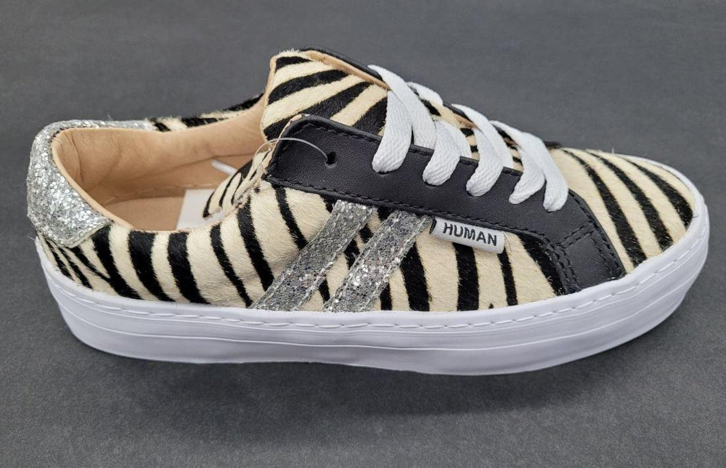 Human Prospect Zebra/Sliver Glitter Sneaker by Human available at My Harley and Rose
