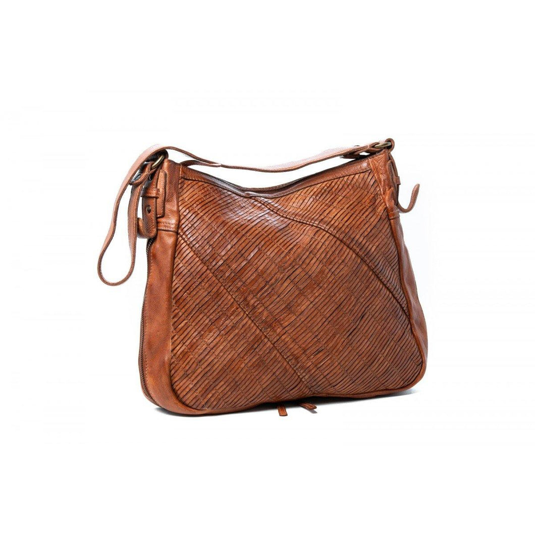 Debbie Shoulder Bag Cognac. Ladies shoulder bag with front diagonal cut design. Main zip compartment:- Two pocket holders for mobile phone, keys, etc- Internal back zip- External back zip- Long adjustable/detachable strap- Zips that expands the gusset of the bag (unzipped width is 13cm). Available at My Harley and Rose.