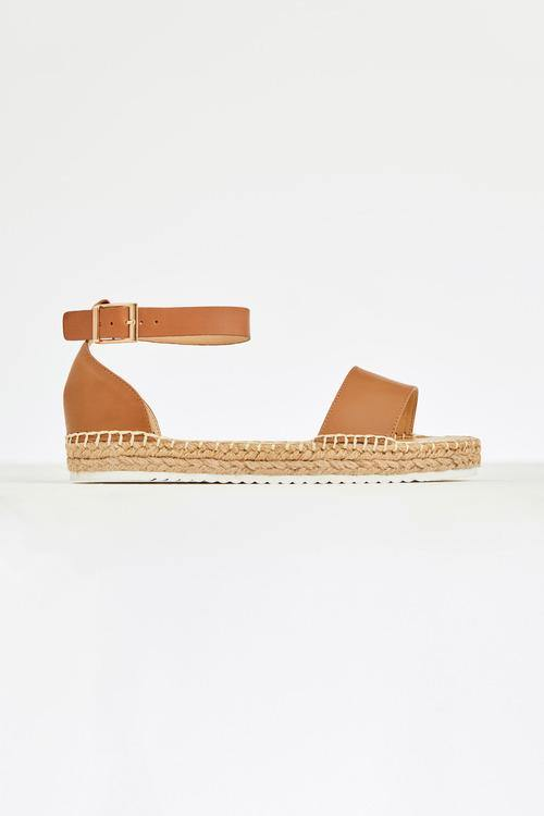 Bedford Tan Sandal Human Leather upper, non leather lined rope espadrille by Human available at My Harley and Rose