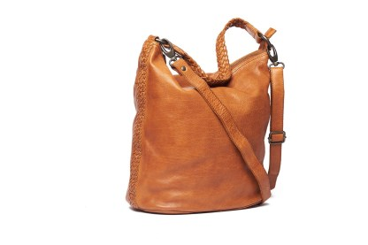Danielle Ladies hobo bag With plated strap and detail on the side by Oran Leather is available at My Harley and Rose
