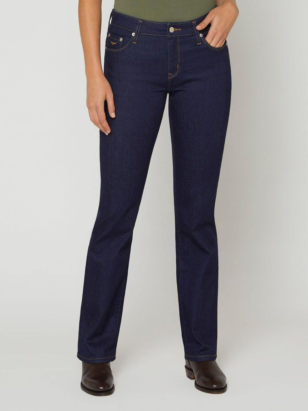 RM Williams Jean Tara The Tara Jean is a traditional slim-fit that slightly flares from the calf to the hem. Popular on the land, the Tara can also be styled with a clean, button down shirt. Available at My Harley and Rose.