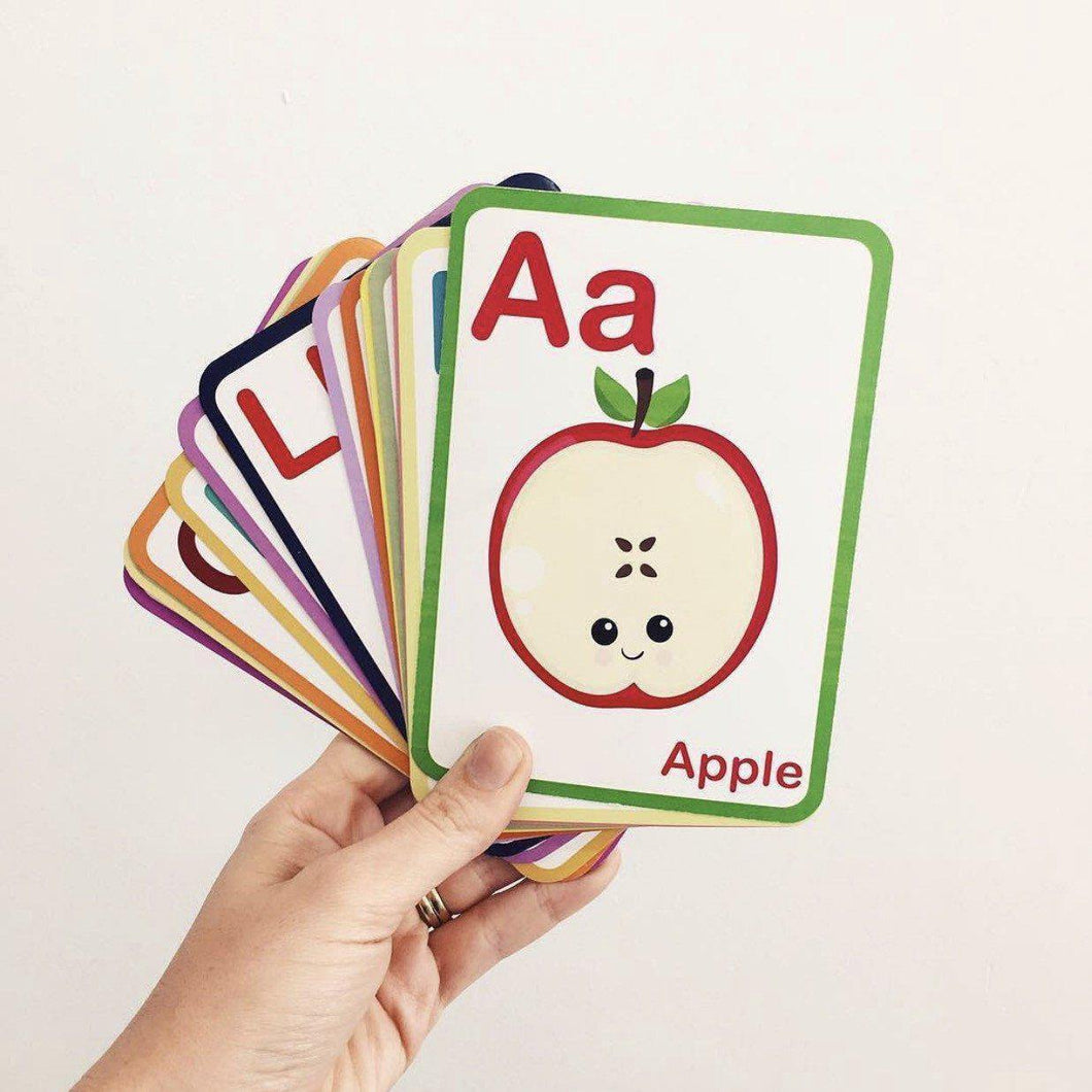 ABC Flash Cards These ABC Flash Cards are professionally printed and of beautiful quality.These flash cards can be used as educational flash cards or as nursery wall art. PRODUCT SPECS: 1 set of ABC flash cards - 26 in total, A-Z Size: 105 x 148mm (A6 approx) Safe rounded corners 300 GSM card stock These alphabet flash cards make a perfect gift for a baby shower, new baby arrival or birthday. Available at My Harley and Rose.