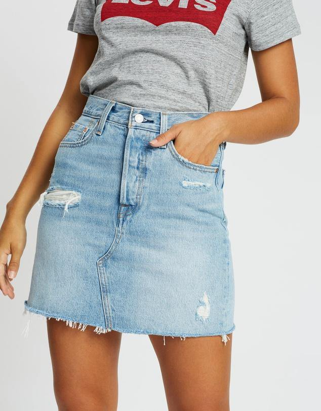 Levi's High Rise Deconstructed Iconic BF Skirt, from Harley & Rose