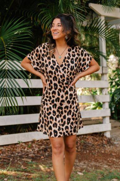 Leopard Wrap Dress by San Jose The Label available at My Harley and Rose