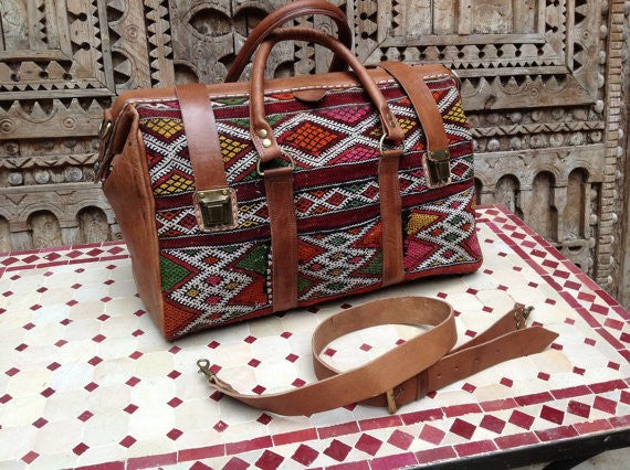 Great Looking with this Colorful Carry on travel tapestry Leather Duffle Bag now in NEW YORK