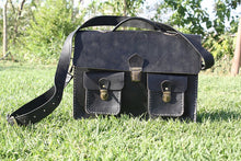Load image into Gallery viewer, Charcoal Black Leather Messenger Bag / Satchel