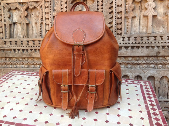 indiana jones Rustic Leather Handstitched Backpack