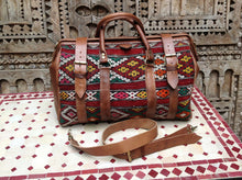 Load image into Gallery viewer, Great Looking with this Colorful Carry on travel tapestry Leather Duffle Bag now in NEW YORK