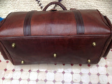 Load image into Gallery viewer, Retro Sangria Brown Leather Travel Duffle Bag & Purse