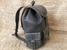 "Load image into Gallery viewer, Vintage Light Gray Color on this Amazing Leather Travel Backpack 17"" Tall"