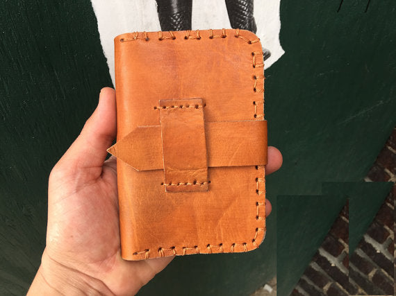 Caramel Hand Stitch Credit Card and Bills Classic Leather Wallet