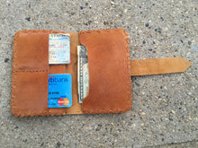 Load image into Gallery viewer, Caramel Hand Stitch Credit Card and Bills Classic Leather Wallet