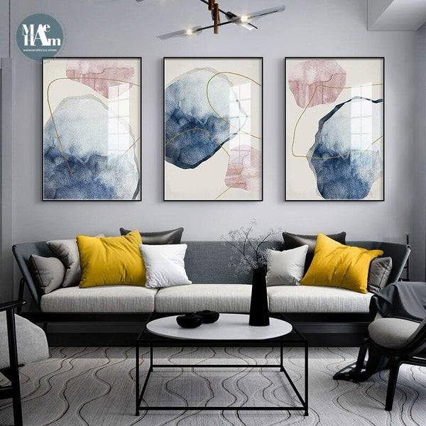 3 abstract paintings canvas pink blue colors