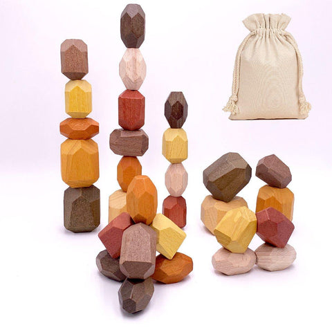 Tumi Ishi-Wooden Rocks - Building Blocks -30pcs-Vintage Collection - Naya North