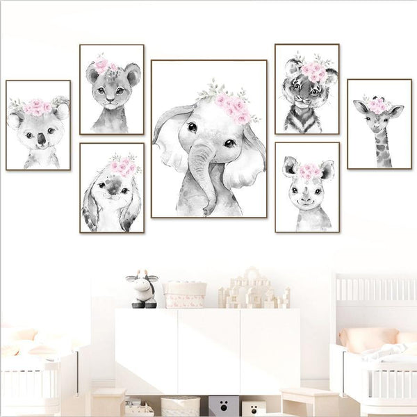 Canvas Poster Wall 7 Baby Animal  portraits