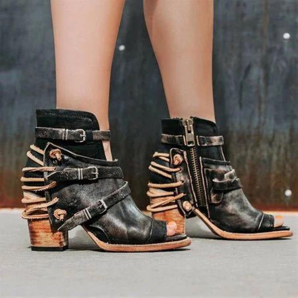 Leather Buckle Closure Open Toe Chunky Heel Sandals