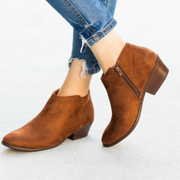 Fashion New Women's Pointed Toe Zipper Closure Chunky Heel Ankle Boots