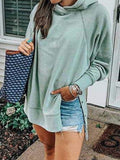 Lightgreen Casual Cotton-Blend Patchwork Sweatshirt